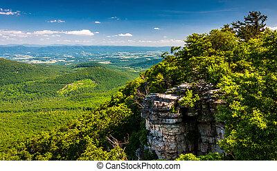 údolí, virginia., big, národnostní, washington, shenandoah, sponka, les, příč.min. od see, skalní stěna, jiří, názor
