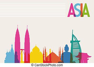 úroveň, barvy, rozmanitost, pořadač, pomník, organizovaný, transparency., slavný, editing., vektor, klidný, asie, mezník