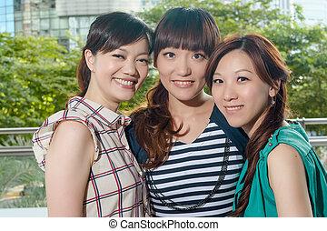 úsměv eny, asijský, šťastný