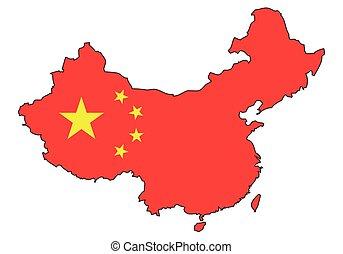 čína, -, celostátní mapovat, nárys, state flag