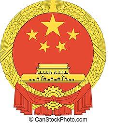 čína, národnostní, vektor, symbol