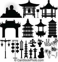 Čínská asijské svatyně relikvie