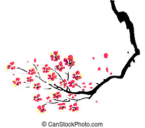 Čínská malba švestka