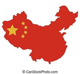 Čínská mapa s vlajkou