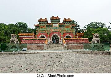 Čínská tradiční budova ve starobylé zahradě, severní porcelán