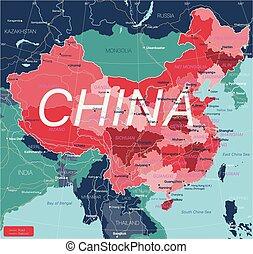 Čínská země je pečlivě upravená mapa
