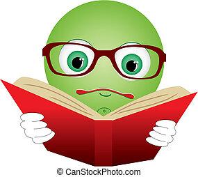 číst, kniha, ilustrace, vektor, mladický ryšavý, smiley-ball, brýle