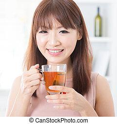 čaj, děvče, udělat si rád, asijský