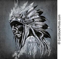 čepobití, hlavička, nad, ponurý, američanka indický, grafické pozadí, portrét, umění