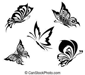 čepobití, motýl, čerň, neposkvrněný
