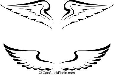 čepobití, neposkvrněný, čerň, křídla, grafické pozadí
