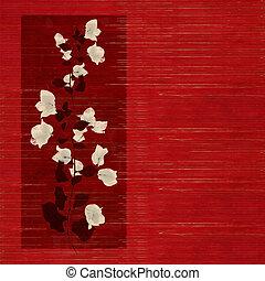 čerň, kopie, grafické pozadí, dřevěný, květ, slatted, neposkvrněný