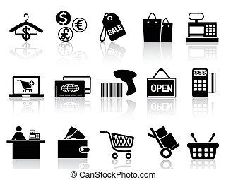 čerň, prodávat v malém, dát, nakupování, ikona