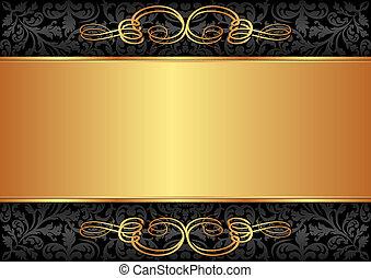 čerň, zlatý, grafické pozadí