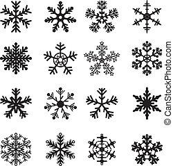 Černé a bílé sněhové vločky