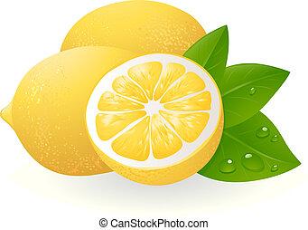 Čerstvé citróny s listy