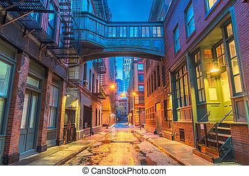 čerstvý, alleyways, york, město