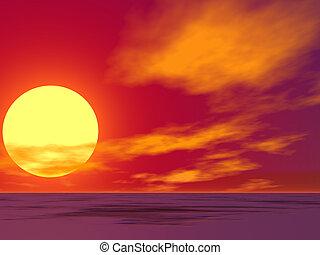 Červená poušť, východ slunce