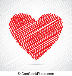 Červený náčrtek srdce