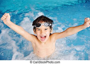 činnost, kaluž, hraní, namočit, letní čas, děti, štěstí, plavání