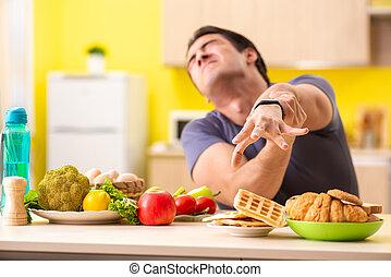 Člověk má těžkou volbu mezi zdravým a nezdravým jídlem