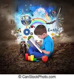Čtení knihy s předmětem vzdělání
