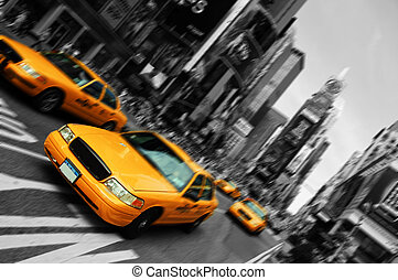 čtverec, pohyb, taxi, rozmazat, město, doba, york, ohnisko, čerstvý
