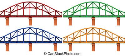 čtyři, brid, barvitý