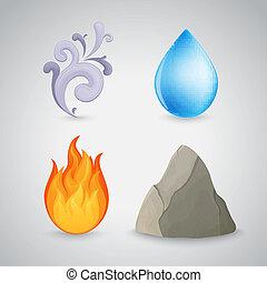 čtyři, oheň, stavět na odiv, -, pralátka, namočit, hlína