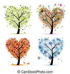 Čtyři roční období - jaro, léto, podzim, zima. Umělecký tvar srdce pro tvůj design