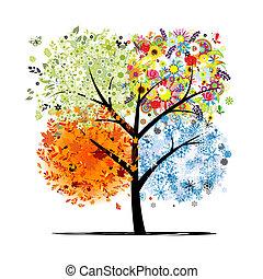 Čtyři roční období - jaro, léto, podzim, zima. Umění je krásné pro tvůj design