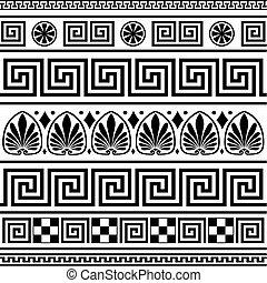 řečtina, borders, vektor, dát