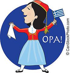 řečtina, dáma, tančení