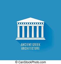 řečtina, starobylý, architektura, ikona