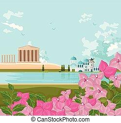 řečtina, vektor, grafické pozadí, architektura, krajina