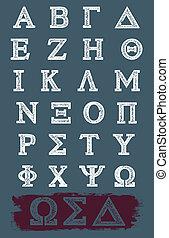 řečtina, vektor, grunge, abeceda