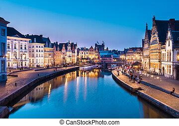 řeka, ghent, belgie, europe., násep, leie
