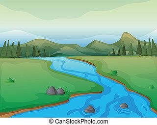 Řeka, les a hory