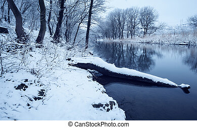 řeka, zima krajinomalba, les