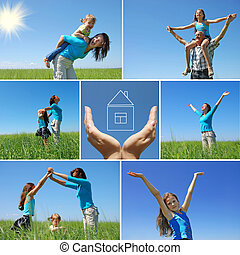 Šťastná rodinka v létě