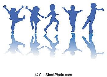 Šťastné děti siluety