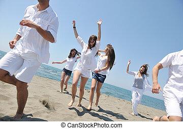 Šťastní lidé se baví a běží na pláži