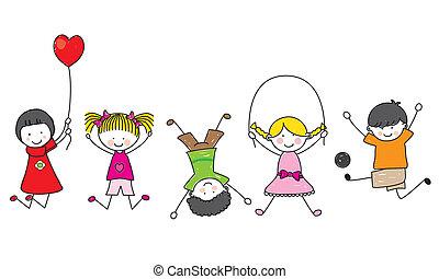 šťastný, děti, hraní