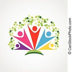šťastný, národ, emblém, strom, kolektivní práce