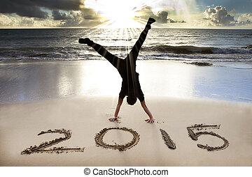 Šťastný nový rok 2015 na pláži