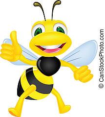 šťastný, palec up, včela