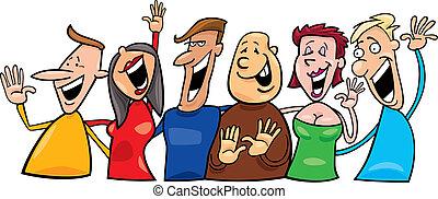 šťastný, skupina, národ