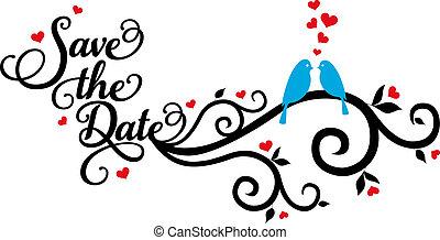 Šetřete datum, svatební ptáci, vecto
