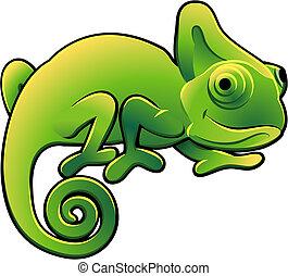 šikovný, chameleon, ilustrace, vektor