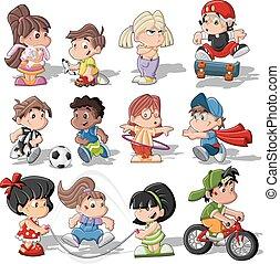 šikovný, děti, karikatura, hraní